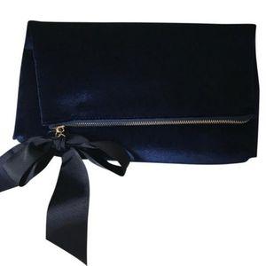 Ann Taylor Navy Blue Velvet Fold over Pouch NWT